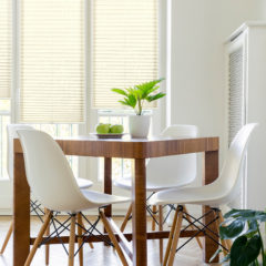 White chairs at wooden table with plant in minimal dining room interior with window. Real photo