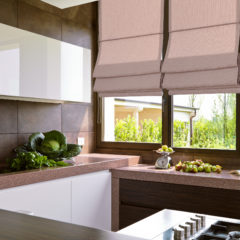 details in the modern kitchen with vegetalbes on the marble top